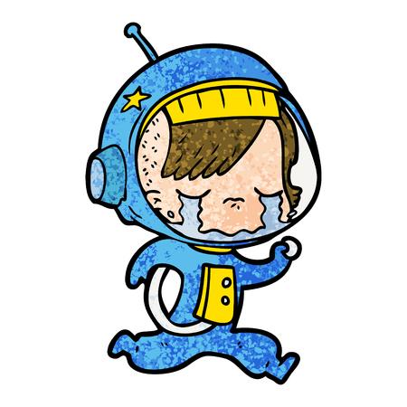 Cartoon crying astronaut girl running illustration on white background. Illustration