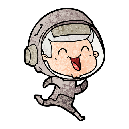 Happy cartoon astronaut illustration on white background.