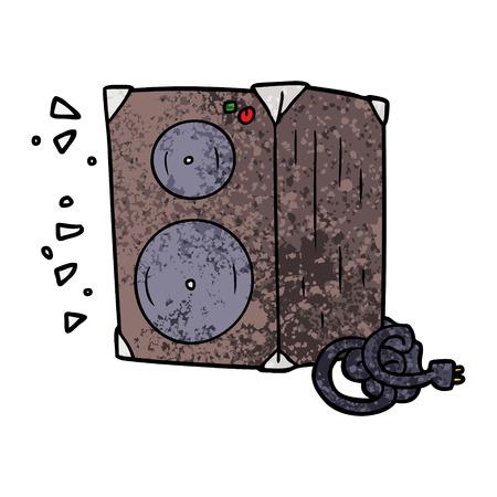 Cartoon amplifier illustration on white background. Illustration