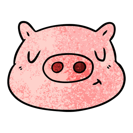 Cute cartoon pig face illustration on white background. Illustration