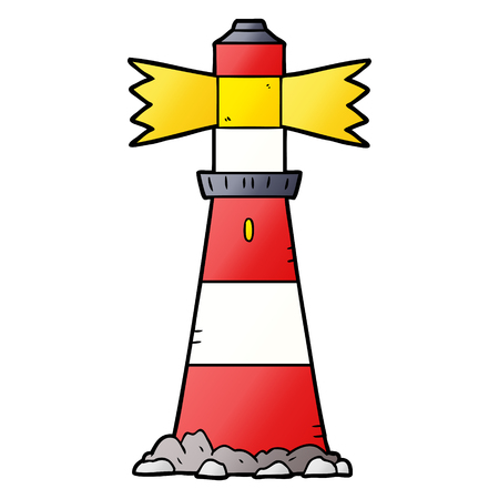 Cartoon lighthouse illustration on white background. Ilustração