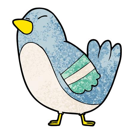 Cute cartoon bird illustration on white background.