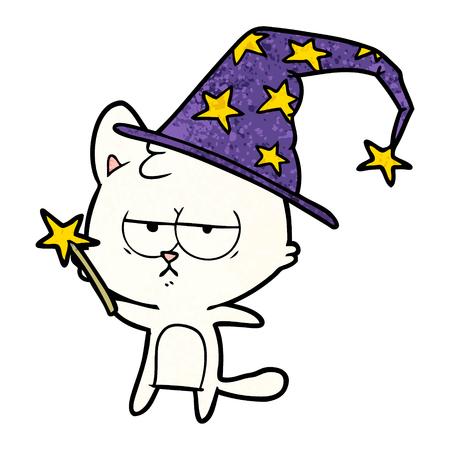 Bored cartoon cat illustration on white background.
