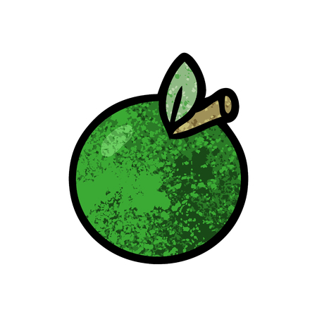 Cartoon apple illustration on white background.