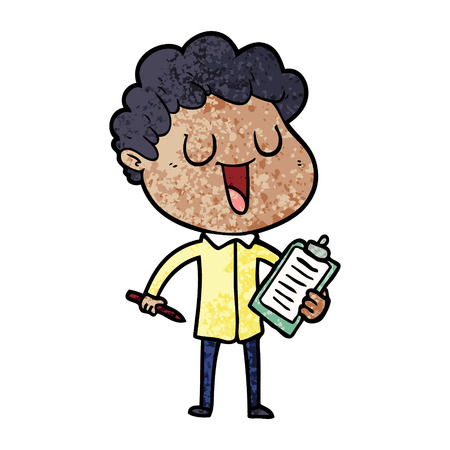 Laughing cartoon man with clipboard and pen illustration on white background. 일러스트