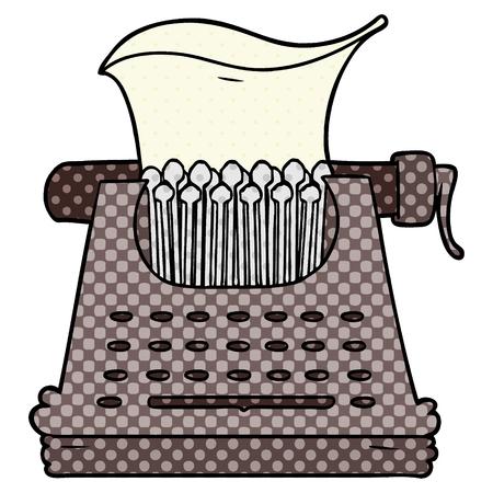 Cartoon typewriter illustration on white background.