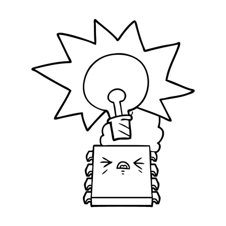 Cartoon overheating computer chip illustration on white background.