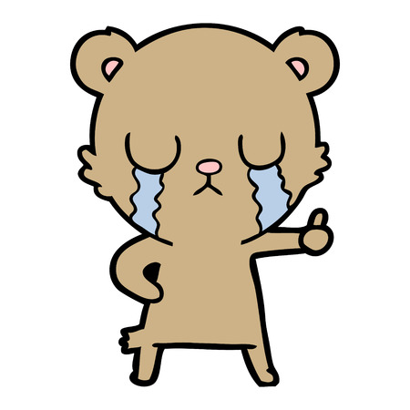 Crying bear cartoon character illustration on white background.