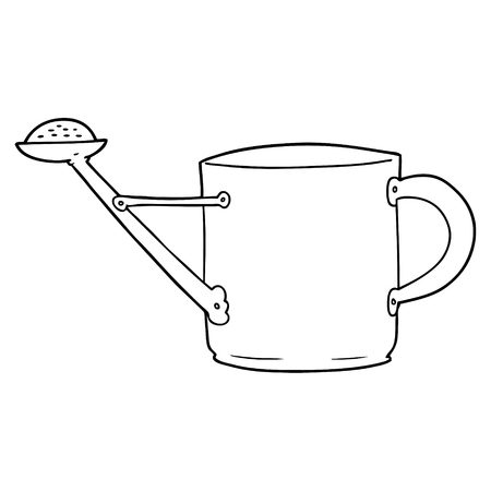 Cartoon watering can illustration on white background.
