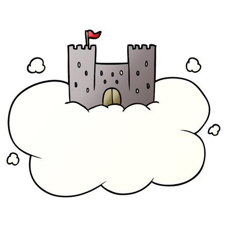 白い背景に空のイラストで漫画の城。