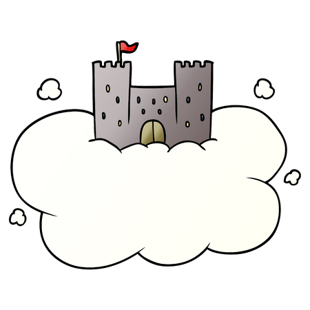 Cartoon castle in sky illustration on white background.