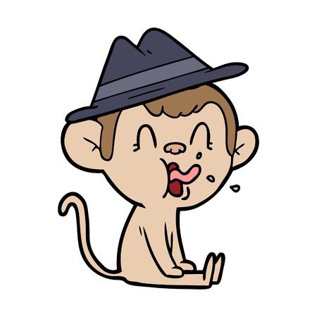 Crazy cartoon monkey sitting illustration on white background.