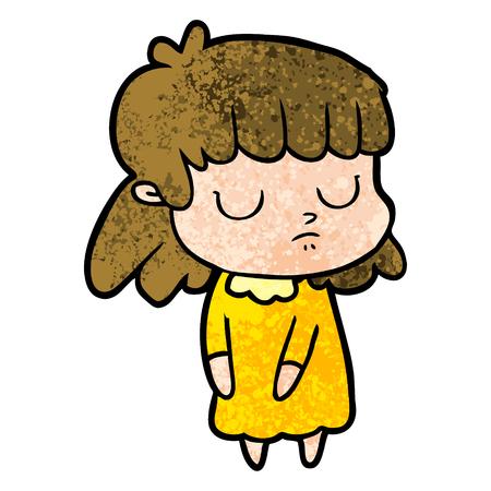 Cartoon woman thinking illustration on white background. Illustration