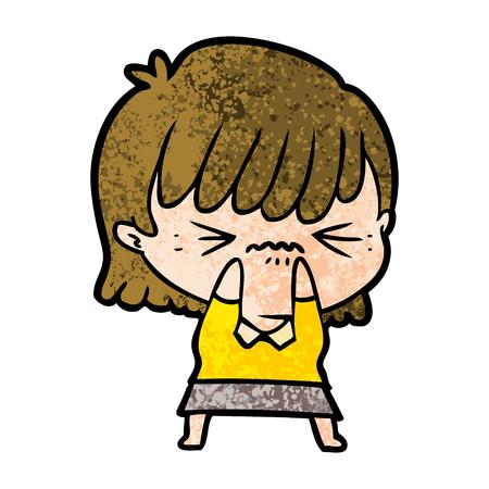 Annoyed cartoon girl Illustration