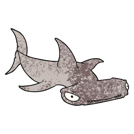 Cartoon hammerhead shark Illustration
