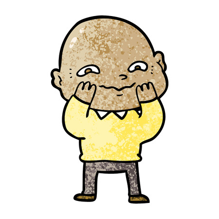 Cartoon nervous bald man illustration on white background. Ilustração
