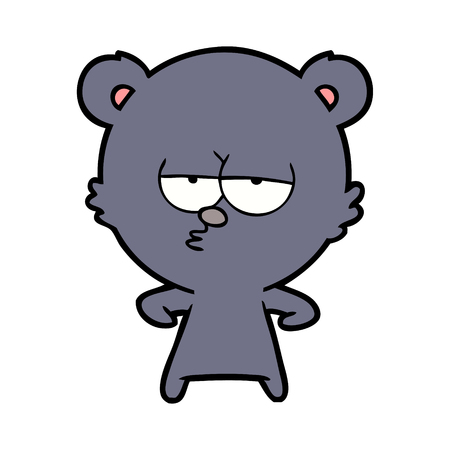 Bored bear cartoon character illustration on white background.