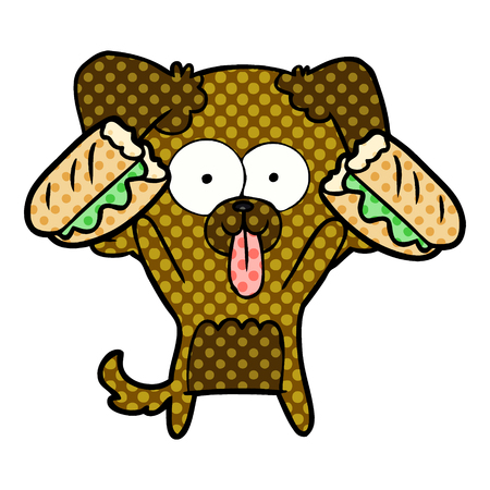 Cartoon dog with tongue sticking out and sandwich