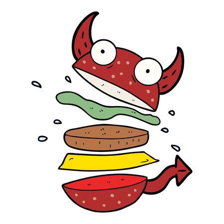 Cartoon amazing burger  イラスト・ベクター素材