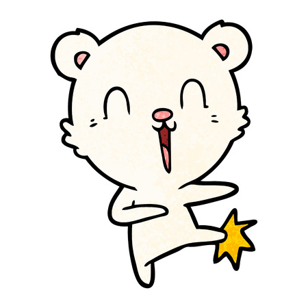 Happy cartoon polar bear kicking