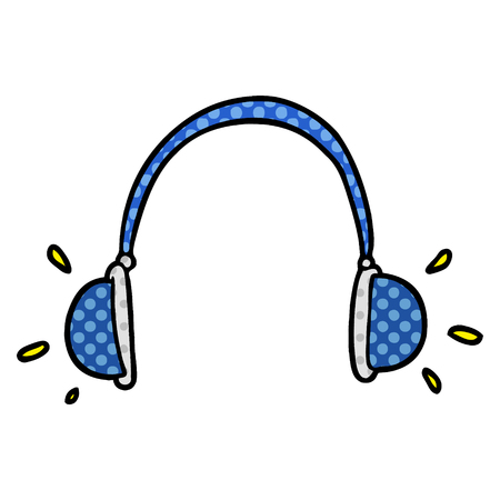 A cartoon headphones isolated on plain background.