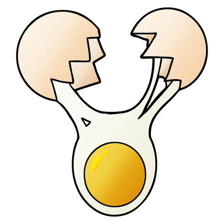明白な背景に隔離されたひび割れた卵の漫画。  イラスト・ベクター素材