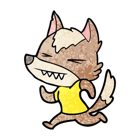 A angry wolf cartoon isolated on plain background.