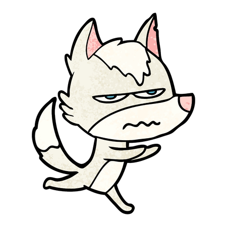 A cartoon annoyed wolf isolated on plain background.
