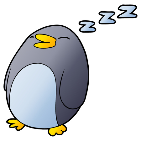 A cartoon sleeping penguin isolated on plain background.