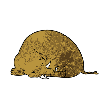 A cartoon dead mammoth isolated on plain background.