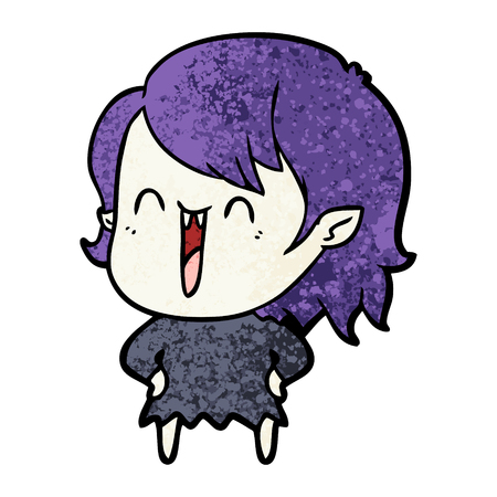 A cute cartoon happy vampire girl