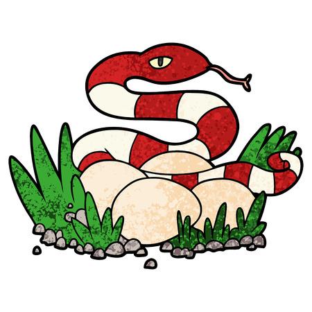 A cartoon snake in nest isolated on plain background. 向量圖像
