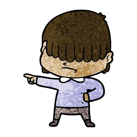 A cartoon boy with untidy hair isolated on plain background.