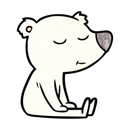 A happy polar bear cartoon isolated on plain background. Illustration