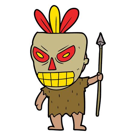 A cartoon cannibal shaman isolated on plain background. Stock Illustratie