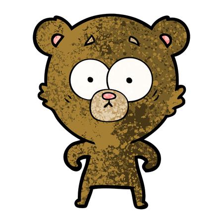 平易な背景に孤立した驚きのクマの漫画。