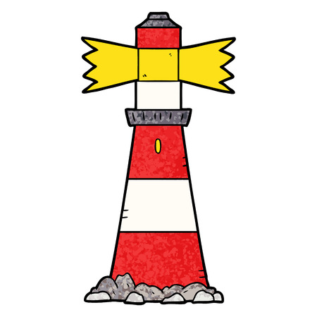A cartoon lighthouse isolated on plain background.