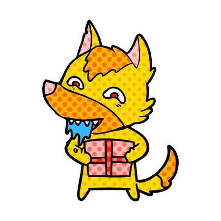 A fox cartoon character isolated on plain background.