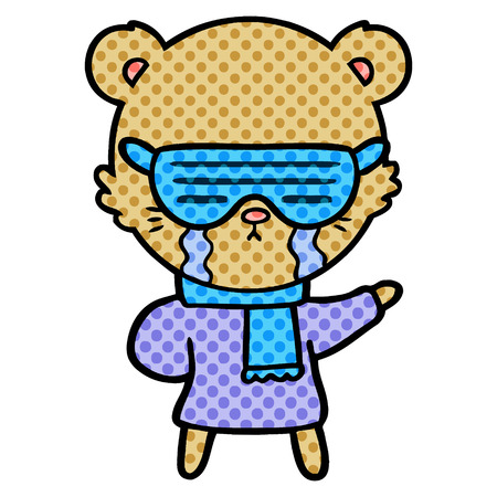 crying cartoon bear wearing rave sunglasses Ilustracja