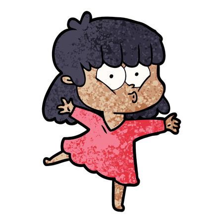 A cartoon whistling girl isolated on plain background. Illusztráció