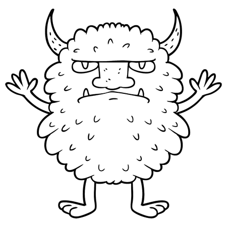 A cartoon grumpy monster isolated on plain background.