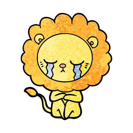 A crying cartoon lion isolated on plain background.