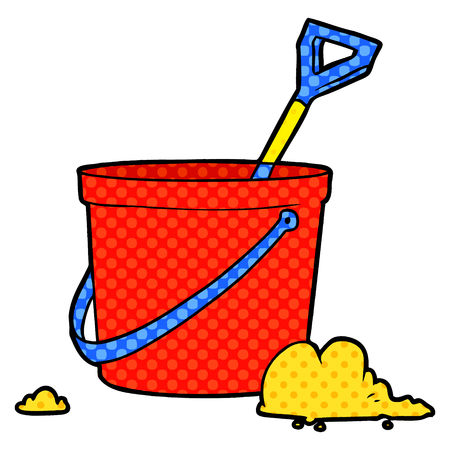 cartoon bucket and spade