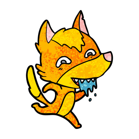 A fox cartoon character isolated on plain background.