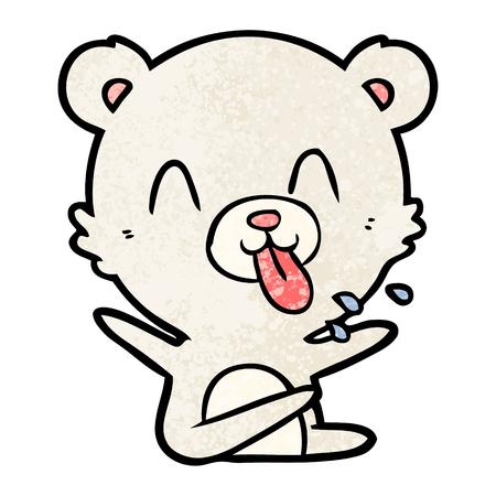 rude cartoon polar bear sticking out tongue