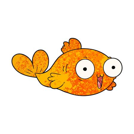 A happy goldfish cartoon isolated on plain background.