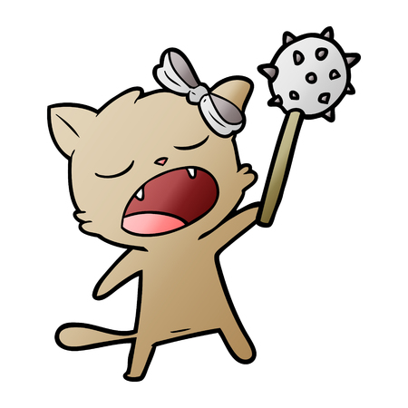 A cartoon singing cat isolated on plain background.