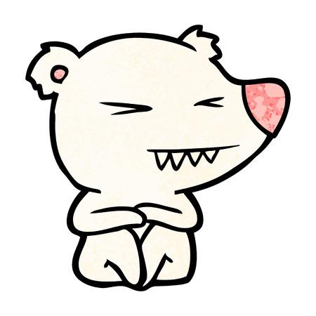 angry polar bear cartoon sitting