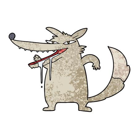hungry cartoon wolf