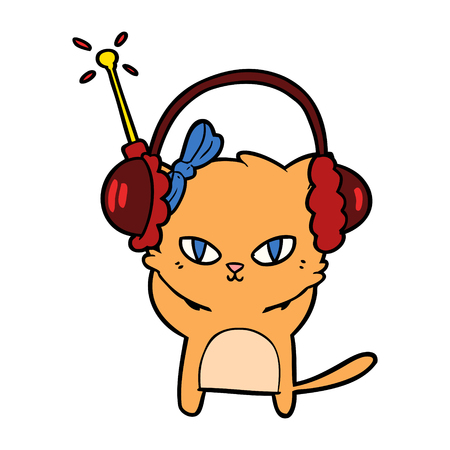 cute cartoon cat with headphones